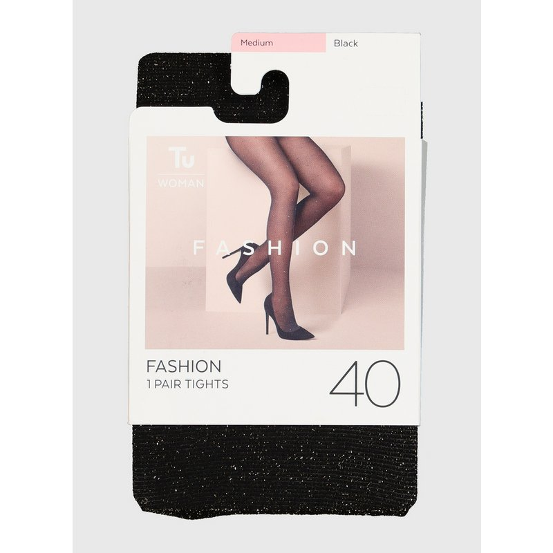 Black Sparkle 40 Denier Opaque Tights from Argos