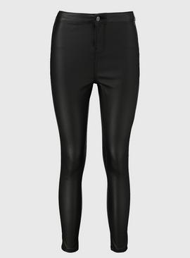 PETITE Black Faux Leather Skinny Jeans