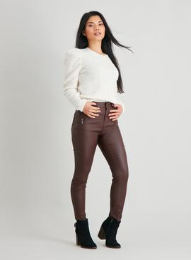 PETITE Brown Faux Leather Skinny Jeans