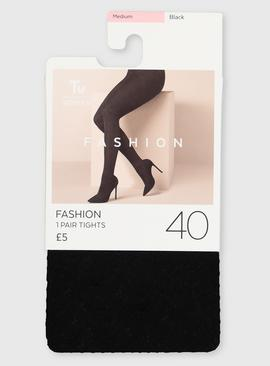 Black 40 Denier Opaque Chevron Tights