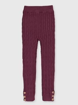 Purple Cable Knit Leggings