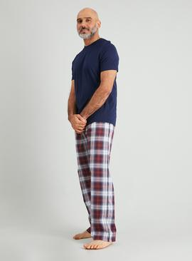 Navy & Twill Check Full Length Pyjamas