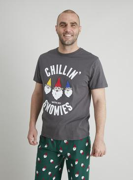 Christmas Green Gnome Print Flannel Pyjamas