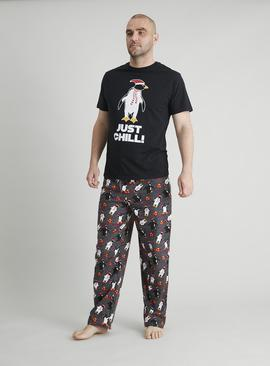 Christmas Penguin Flannel Grey Pyjamas