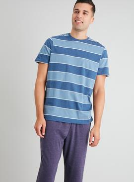 Blue Stripe & Navy Full Length Pyjamas
