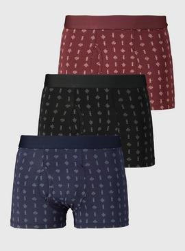 Navy, Black & Burgundy Printed Trunks 3 Pack