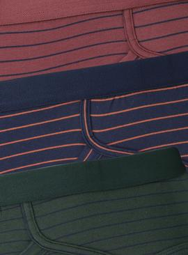 Navy, Burgundy & Green Stripe Briefs 3 Pack