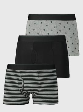 Grey Stripe, Black & Tree Print Trunks 3 Pack