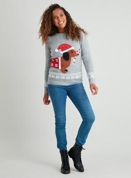 Christmas Mini Me Grey Dachshund Jumper