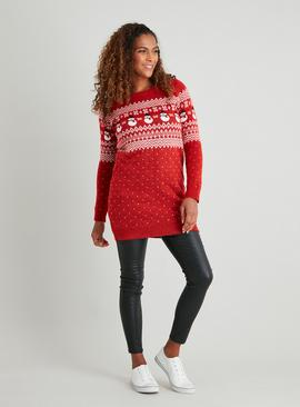 Christmas Family Dressing Red Snowman Fair Isle Tunic