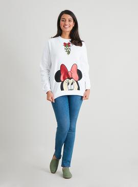 Christmas Disney Minnie Mouse White Sweatshirt