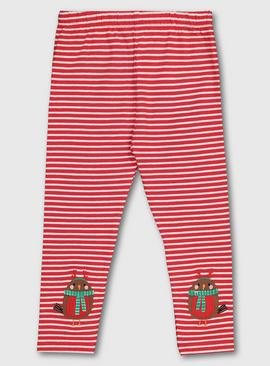 Christmas Red & White Stripe Robin Leggings