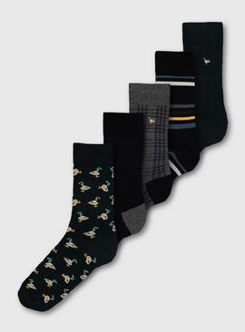 Green Duck Print Stay Fresh Socks 5 Pack