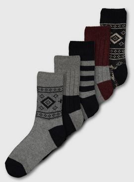 Grey Navajo Patterned Stay Fresh Socks 5 Pack