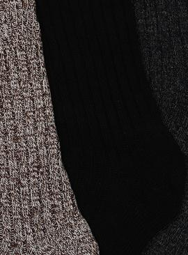 Black, Navy & Brown Twist Boot Socks With Wool 3 Pack
