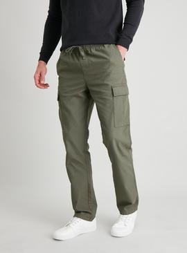 Khaki Straight Leg Pull On Cargo Trousers