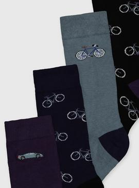 Assorted Bicycle Design Ankle Socks 5 Pack