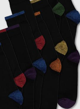 Black Stay Fresh Coloured Heel Socks 10 Pack