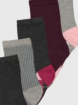 Pink Argyle Pattern Ankle Socks 5 Pack - 4-8