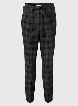 Check Tweed Belted Tapered Trousers