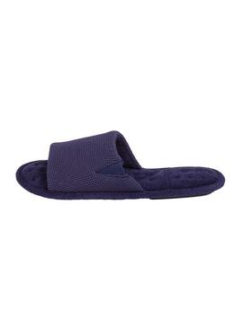 Navy Waffle Pillowstep Slider Slippers