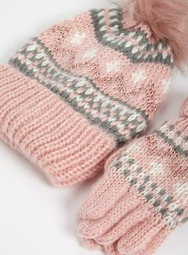 Pink Fair Isle Knitted Beanie Hat & Gloves