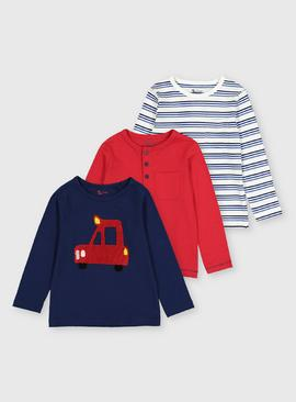 Navy & Red Long Sleeve T-Shirts 3 Pack