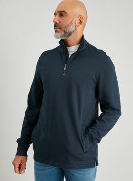 Navy Washed Half Zip Sweatshirt