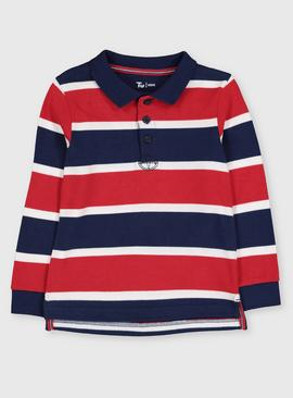 Red Rugby Stripe Polo Shirt