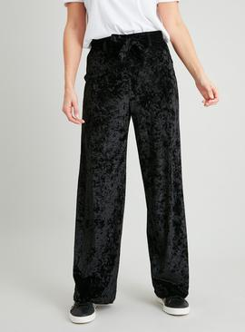Black Wide Leg Velvet Trousers