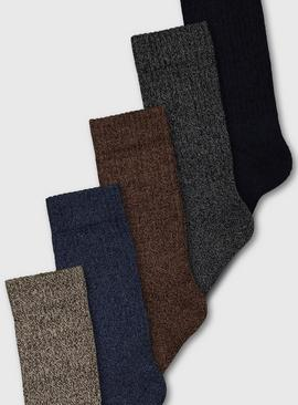 Brown Cushioned Comfort Sole Socks 5 Pack