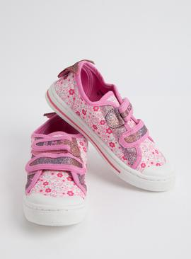 Pink Floral Glittery Twin Strap Trainers