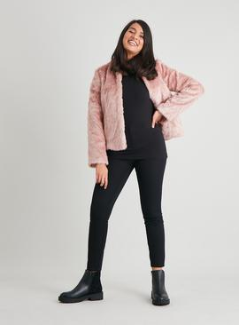 Pink Faux Fur Chevron Design Jacket
