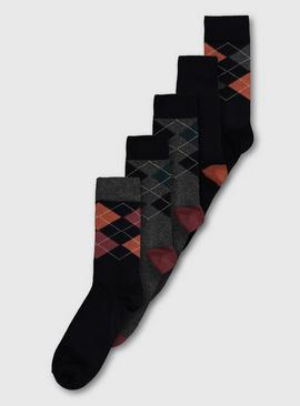 Argyle Stay Fresh Socks 5 Pack