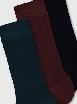 Teal, Navy & Red Thermal Socks 3 Pack