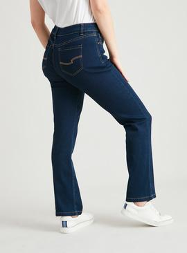 PETITE Dark Denim Straight Leg Jeans With Stretch