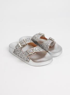Silver Glitter Buckle Sliders