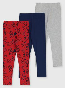 Heart Print, Navy & Grey Marl Leggings 3 Pack