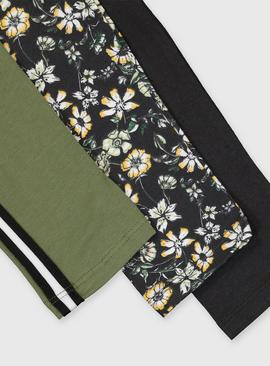 Floral, Black & Khaki Leggings 3 Pack