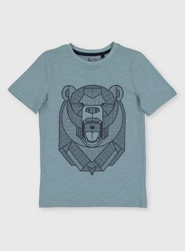 Blue Geo Bear Graphic Top