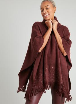 Burgundy Diamanté Roll Neck Poncho - One Size