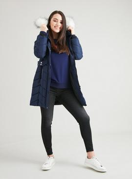 PETITE Navy Padded Chevron Longline Coat With Hood