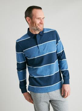 Navy Block Stripe Rugby Shirt