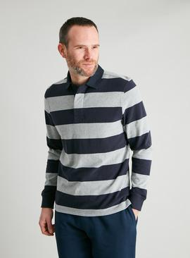 Navy & Grey Block Stripe Rugby Shirt