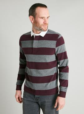Charcoal & Oxblood Stripe Rugby Shirt