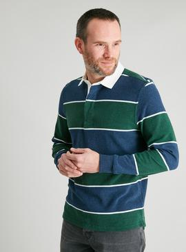Green & Navy Stripe Rugby Shirt