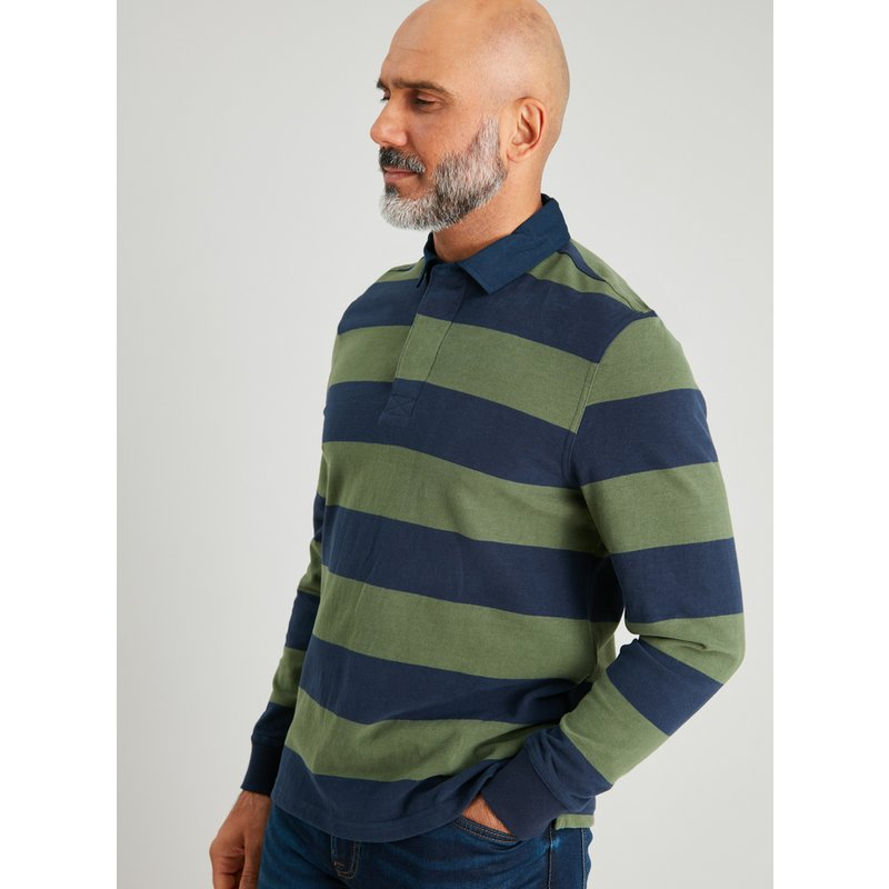 Navy & Green Stripe Rugby Shirt from Argos