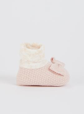Pink Knitted Bow Sock Top Booties