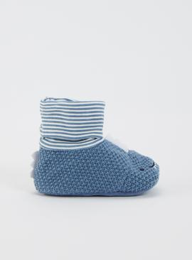 Blue Knitted Dinosaur Sock Top Booties