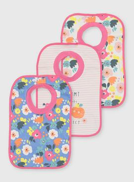 Floral Print & Stripe Bibs 3 Pack - One Size